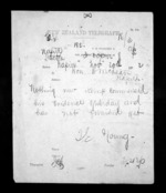 1 page written 20 Nov 1872 by Thomas Edward Young to Sir Donald McLean in Napier City, from Native Minister - Inward telegrams