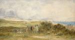 [Brees, Samuel Charles]  1810-1865 :[Group of Maori and Pakeha near a beach, probably Paekakariki looking towards Pukerua.  Between 1842 and 1845]