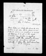 1 page written 20 Dec 1872 by G Worgan in Wanganui to Sir Donald McLean in Wellington, from Native Minister - Inward telegrams