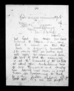 2 pages written 5 Dec 1872 by John Rogan to Sir Donald McLean in Napier City, from Native Minister - Inward telegrams