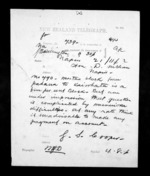 1 page written 21 Nov 1872 by George Sisson Cooper in Wellington City to Sir Donald McLean in Napier City, from Native Minister - Inward telegrams