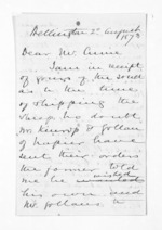 3 pages written 20 Aug 1873 by Sir Donald McLean in Wellington to John Lang Currie, from Inward letters - John L Currie