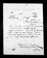 1 page written 19 Nov 1872 by an unknown author in Auckland City to Sir Donald McLean in Napier City, from Native Minister - Inward telegrams
