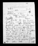 1 page to Sir Donald McLean in Napier City, from Native Minister - Inward telegrams