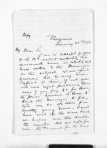 2 pages written 22 Jan 1872 by Sir Donald McLean in Wanganui to John Valentine Smith, from Inward letters - Surnames, Smith