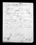 1 page written by George Sisson Cooper in Wellington to Sir Donald McLean in Napier City, from Native Minister - Inward telegrams