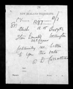 1 page to Sir Donald McLean in Wellington City, from Native Minister - Inward telegrams