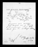 1 page written 25 Dec 1872 by John Rogan to Sir Donald McLean in Wellington, from Native Minister - Inward telegrams