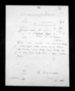 1 page written 2 Dec 1872 by an unknown author in Wanganui to Sir Donald McLean in Napier City, from Native Minister - Inward telegrams