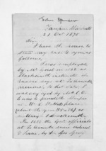 3 pages written 21 Oct 1875 by John Spencer to Sir Donald McLean, from Inward letters - Surnames, Spe - Sta