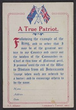 Eph-A-ALCOHOL-Temperance-1915-01: New Zealand Alliance for the Abolition of the Liquor Traffic :A true patriot; A false patriot. N.Z. Alliance, Lankshear's Limited 40951 [Card. ca 1915]