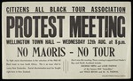 Eph-D-RACIAL-1959-01: Citizens All Black Tour Association :Protest meeting, Wellington Town Hall - Wednesday 12th Aug. at 8 p.m. No Maoris - No tour.  [1959].