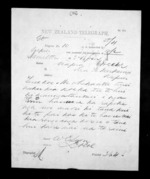 1 page written 6 Dec 1872 by an unknown author in Hamilton City to Sir Donald McLean in Napier City, from Native Minister - Inward telegrams