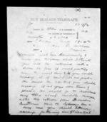 2 pages written 19 Nov 1872 by Sir Julius Vogel in Wellington to Sir Donald McLean in Napier City, from Native Minister - Inward telegrams