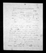1 page written 28 Nov 1872 by John Rogan to Sir Donald McLean in Napier City, from Native Minister - Inward telegrams