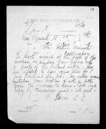 1 page written 1 Nov 1872 by Robert Reid Parris in New Plymouth to Sir Donald McLean in Wellington, from Native Minister - Inward telegrams