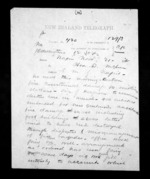 2 pages written 21 Nov 1872 by Thomas William Lewis in Wellington City to Sir Donald McLean in Napier City, from Native Minister - Inward telegrams