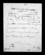 1 page written by John Gibson Kinross in Napier City to Sir Donald McLean in Auckland City, from Native Minister - Inward telegrams