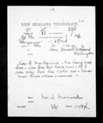 1 page written 20 Dec 1872 by an unknown author in Wanganui to Sir Donald McLean in Wellington, from Native Minister - Inward telegrams