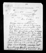 2 pages written 11 Nov 1872 by James Grindell to Sir Donald McLean in Napier City, from Native Minister - Inward telegrams