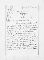 3 pages written 2 Jul 1875 by Rev James West Stack to Sir Donald McLean, from Inward letters - Surnames, Spe - Sta
