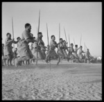 Maori Battalion performing a haka for the King of Greece, at Helwan, Egypt, during World War 2