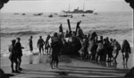 Arabs landing British Army stores by boat, Palestine.