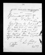 1 page written 20 Dec 1872 by Edward Walter Puckey to Sir Donald McLean in Wellington, from Native Minister - Inward telegrams