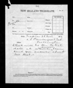 1 page written 26 Nov 1872 by an unknown author in Napier City to Sir James Prendergast in Wellington, from Native Minister - Inward telegrams