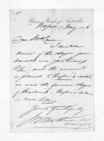 1 page written 11 May 1866 by an unknown author in Napier City to Sir Donald McLean, from Inward letters - Surnames, Und - Viv