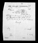 1 page written by John Gibson Kinross to Sir Donald McLean in Wellington, from Native Minister - Inward telegrams