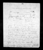 2 pages written 3 Dec 1872 by George Marsden Waterhouse in Wellington to Sir Donald McLean in Napier City, from Native Minister - Inward telegrams