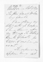 2 pages written 9 Oct 1873 by John Lang Currie to Sir Donald McLean, from Inward letters - John L Currie