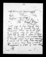 2 pages written 25 Dec 1872 by John Davies Ormond in Napier City to Sir Donald McLean in Wellington, from Native Minister - Inward telegrams