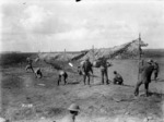 World War I New Zealand Engineers erecting a camouflage screen at Grevillers, France