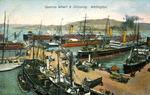[Postcard]. Queens Wharf & shipping, Wellington. G & G Series no. 125. [ca 1910].