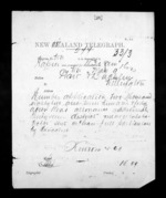 1 page written 9 May 1872 by John Gibson Kinross in Napier City to Wellington, from Native Minister - Inward telegrams