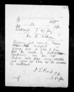 1 page written 1 Nov 1872 by Henry Tacy Kemp in Auckland City to Sir Donald McLean in Wellington, from Native Minister - Inward telegrams