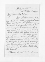 2 pages written 16 Dec 1870 by John Valentine Smith in Masterton to Sir Donald McLean in Wellington, from Inward letters - Surnames, Smith