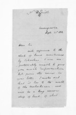 3 pages written 21 Sep 1862 by Stephenson Percy Smith to Sir Donald McLean, from Inward letters - Surnames, Smith