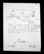1 page written 8 Nov 1872 by George Sisson Cooper in Wellington to Napier City, from Native Minister - Inward telegrams