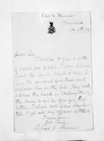 1 page written 9 Jan 1872 by Robert G Skinner, from Inward letters - Surnames, Sin - Sma