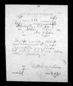 1 page written 25 Nov 1872 by George Marsden Waterhouse in Wellington to Sir Donald McLean in Napier City, from Native Minister - Inward telegrams