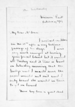 2 pages written 19 Oct 1857 by William McHardy to Sir Donald McLean in Auckland Region, from Inward letters - Surnames, Macfar - McHar