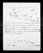 1 page written 1 Nov 1872 by Colonel William Charles Lyon in Hamilton City to Sir Donald McLean in Wellington, from Native Minister - Inward telegrams