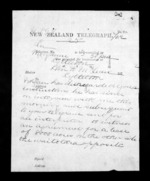 2 pages written   1872 by Sir William Fitzherbert in Wanganui to Sir Donald McLean in Lyttelton, from Native Minister - Inward telegrams