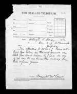 1 page written 11 Dec 1872 by Sir Donald McLean in Wellington City to Napier City, from Native Minister - Inward telegrams