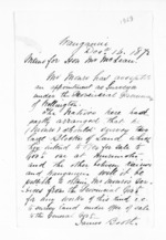 2 pages written 16 Dec 1872 by James Booth in Wanganui to Sir Donald McLean, from Inward letters - Surnames, Boo - Bor