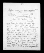 2 pages written 21 Dec 1872 by Henry Tacy Kemp in Auckland City to Sir Donald McLean in Wellington, from Native Minister - Inward telegrams