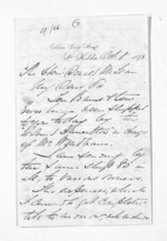 3 pages written 8 Oct 1873 by John Lang Currie to Sir Donald McLean, from Inward letters - John L Currie